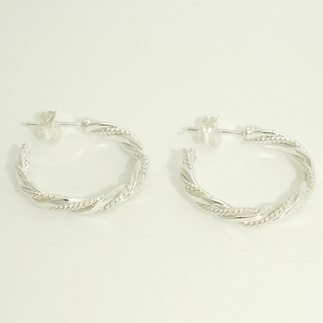 83945ed9dd Különleges ezüst karika fülbevaló Ezüst fülbevalók
