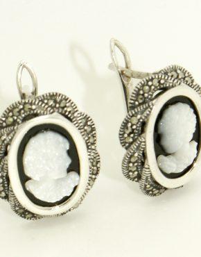 Ezüst kámea fülbevaló