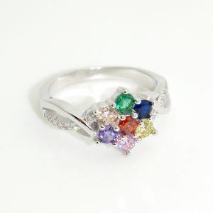 Színes cirkónia kövekkel ékesített gyűrű
